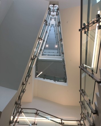 Inox guardrail with glass infill installation at Rutgers University, NJ