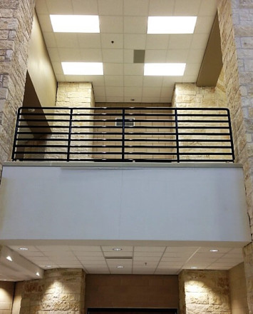 Hewi guardrail with infill rails at the Liberty Hills school, TX.