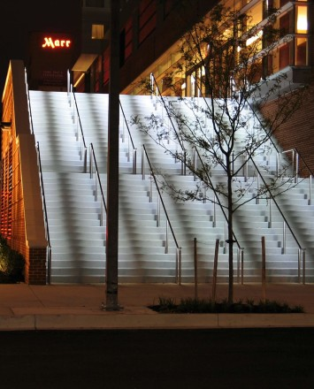 Upward view Circum Round LED Handrail installation at the Hilton in Baltimore, MD