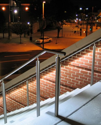 Downward angled view of Circum Round LED Handrail installation at the Hilton in Baltimore, MD