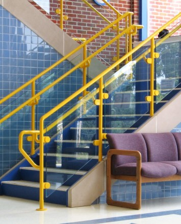 Hewi guardrail with glass infill panels at Kissel Hill Elementary School, PA.