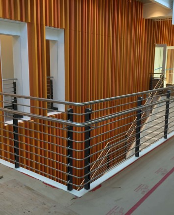 Ferric guardrail with stainless steel infill rail installation at LAPD Metropolitan Division, CA.