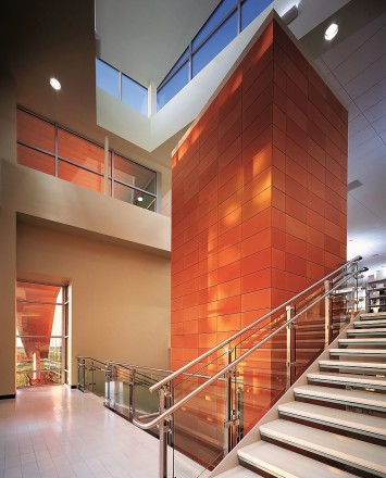 Inox handrail with glass infill installation at the Naperville Public Library, Naperville, IL
