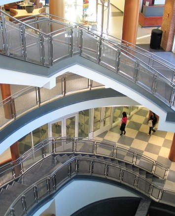 Inox curved handrail with stainless steel infill installation at Southern Connecticut State University, CT.