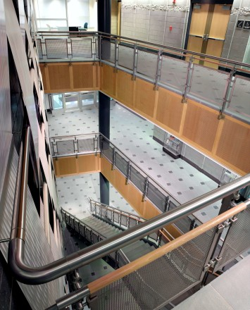 Inox guardrail with stainless steel infill installation at University of Connecticut, CT.