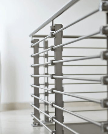 Inox guardrail with stainless steel infill rails, Los Cabos, Mexico