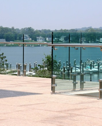 Outdoor balcony view of K Hovnanian HQ, NJ, Kubit short posts with glass infill panels and attached handrail