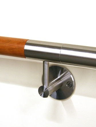 Wood and stainless steel Ferric wall mounted handrail