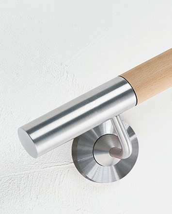 Wood and stainless steel inox Handrail c/w straight end