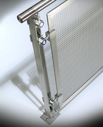 inox guardrail with stainless steel top rail & perforated stainless steel infill panels
