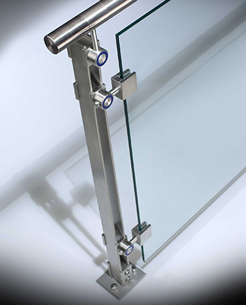 inox guardrail with stainless steel top rail & tempered glass infill panels