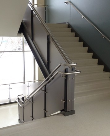 Stairwell view of Ferric guardrail installation at Fox Valley Tech, WI.