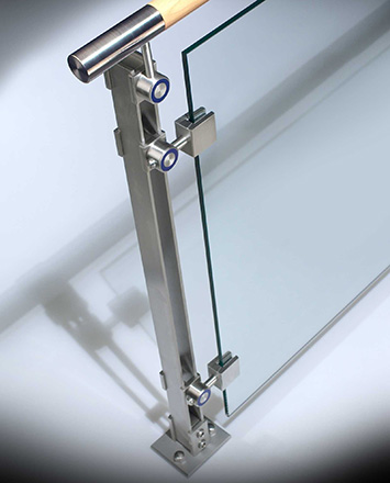 inox guardrail with wood top rail & tempered glass infill panels