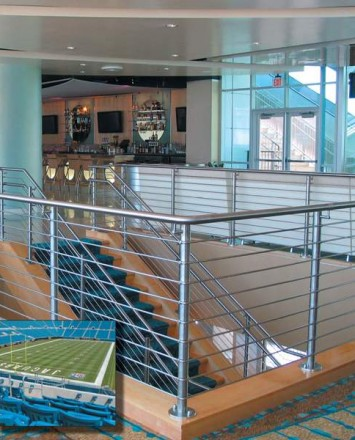 Over the top stairwell view at Alltel Stadium (Jacksonville Jaguars), FL. CIRCUM guardrail with raked and horizontal infill rails