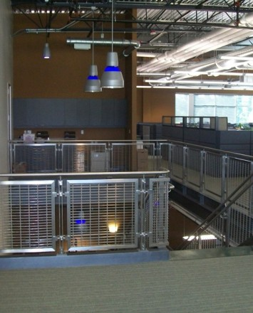 View of General Contractors office, WA, Inox guardrail with woven mesh stainless steel infill panel