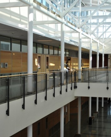 Open & airy second view of De Anza College, CA, Ferric guardrail with stainless steel posts and woven mesh infill panels