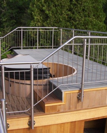 Rooftop view of a Hot tub, Private Residence, MA, CIRCUM guardrail with stainless steel infill pickets