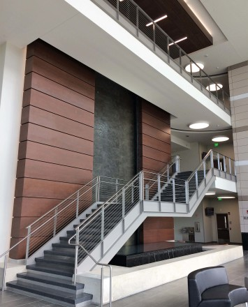 View of Rock Valley College entrance, IL, Weld mounted posts, KOTO guardrail