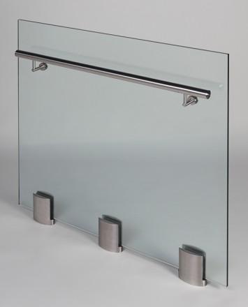 Closeup Studio shot of 3 metal ellipsis Optik POD mounting hardware with glass infill & stainless steel rail