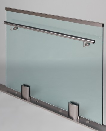 Closeup Studio shot of 2 metal ellipsis Optik POD mounting hardware with glass infill & stainless steel rail