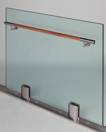 Closeup Studio shot of 2 metal ellipsis Optik POD mounting hardware with glass infill & wood rail
