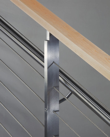 Closeup of KOTO, connections with stainless steel handrail and wood top cap