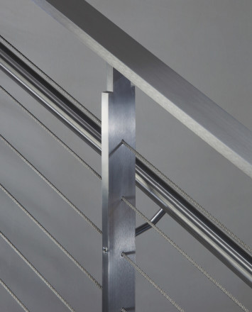 Closeup of KOTO, connections with stainless steel handrail and top cap