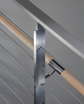 Closeup of KOTO, connections with wood handrail and stainless steel top cap