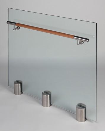 Closeup Studio shot of 3 metal round Optik POD mounting hardware with glass infill & wood rail