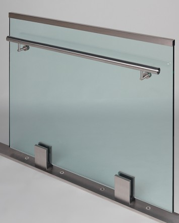 Closeup Studio shot of 2 metal square Optik POD mounting hardware with glass infill & stainless steel rail