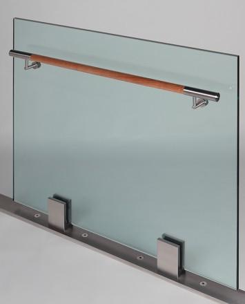 Closeup Studio shot of 2 metal square Optik POD mounting hardware with glass infill & wood rail