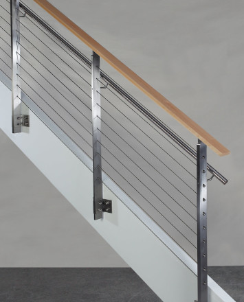 Side view of KOTO, side mounted railing with stainless steel handrail and wood top cap