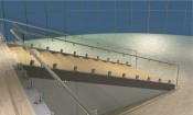 The 3D rendering completes the railing modeling process.