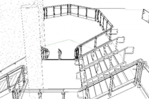 The revit software model of an important space during the handrail design phase.