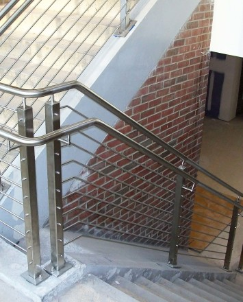 Circum Square stainless steel guardrail installation at SUNY Nathan Hale, NY.