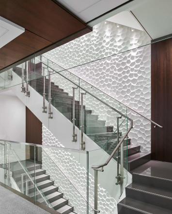 Staircase view of Smoke baffle system with Konic railing system