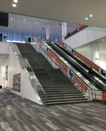 Moscone Center, San Francisco, CA, Smoke baffle system with Optik Shoe railing system