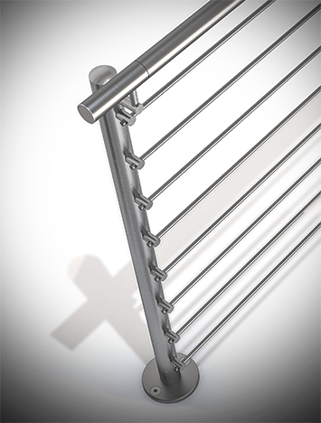 Circum round stainless steel guardrail with stainless steel perforated infill rails