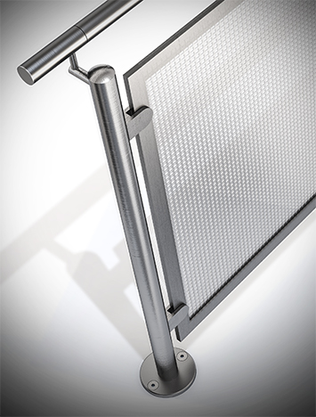 Circum round stainless steel guardrail with stainless steel perforated infill panels