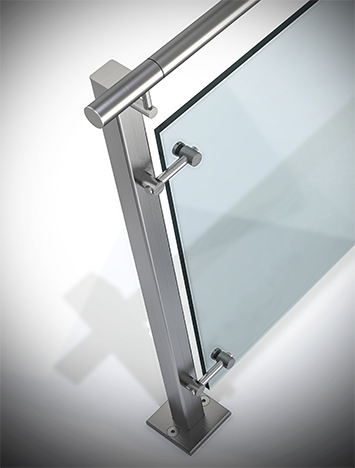 Circum square stainless steel guardrail with glass infill
